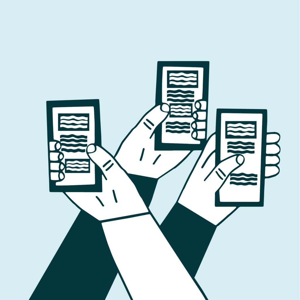 illustration of three hands holding three smartphones