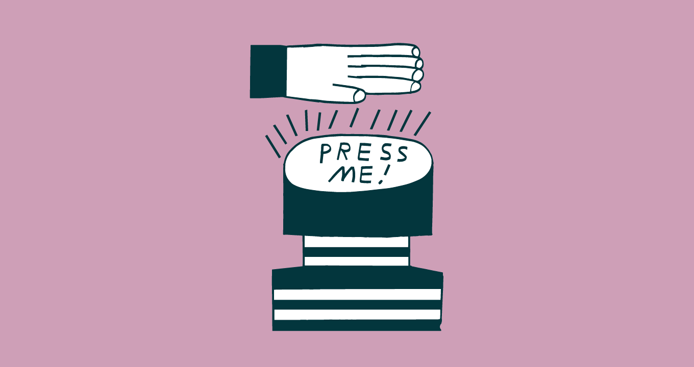 Illustration of a button with the words