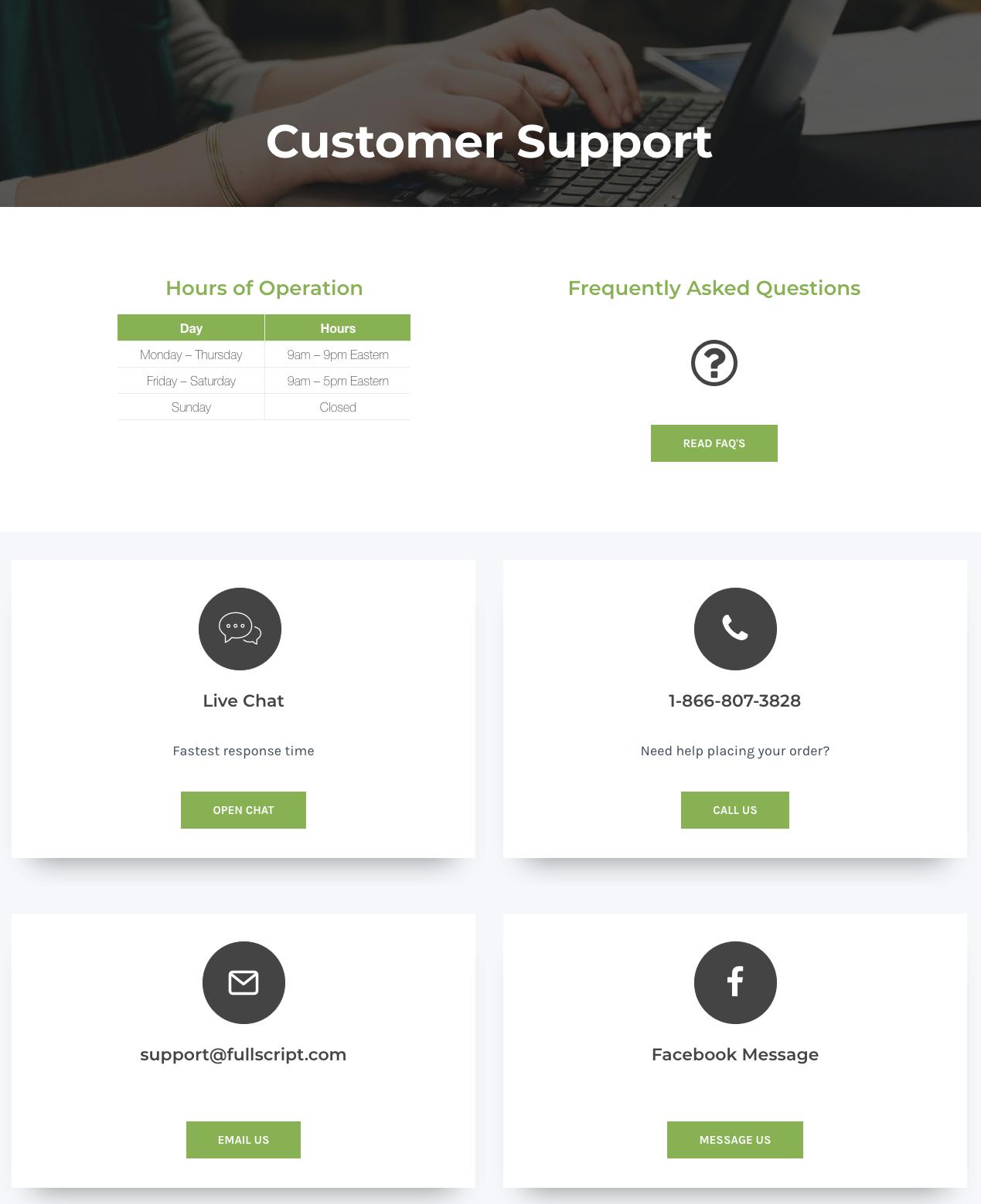 Fullscript's support webpage