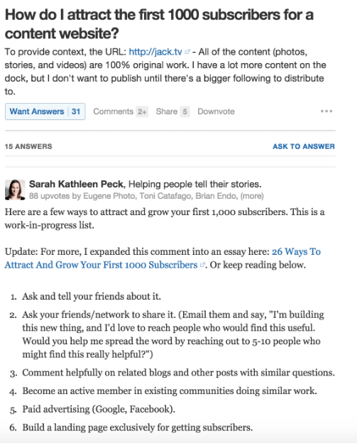 Generate leads on Quora