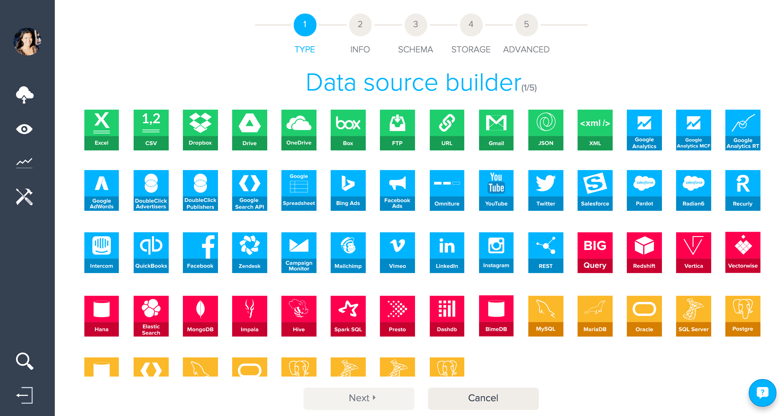 BIME data source builder