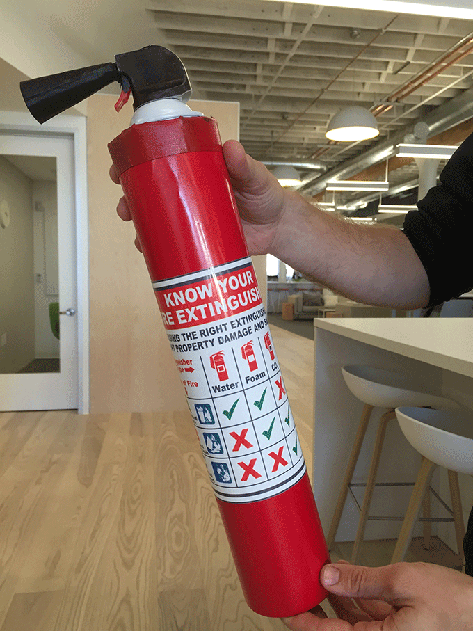 Fake fire extinguisher
