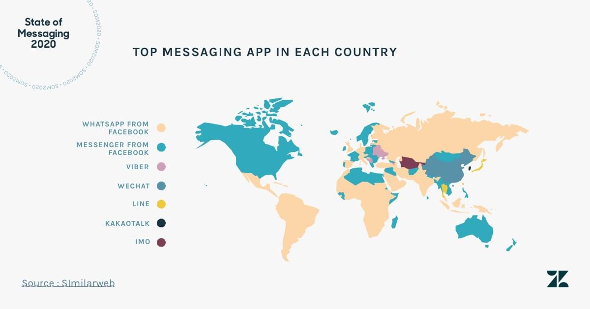 The top messaging app in each country
