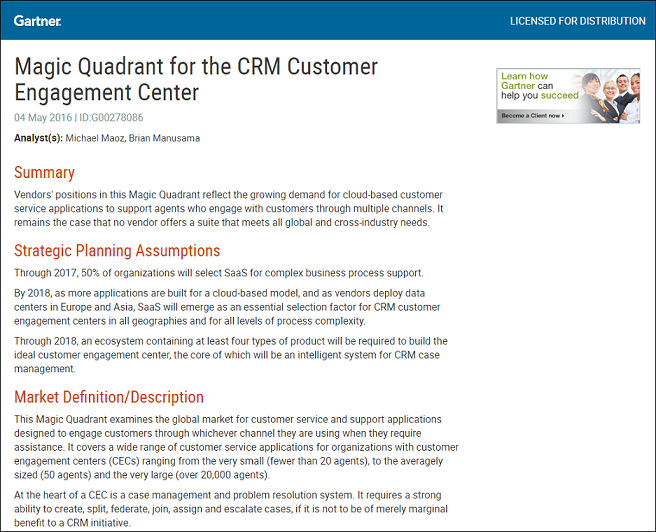 Gartner's 2015 Magic Quadrant for the CRM Customer Engagement Centre