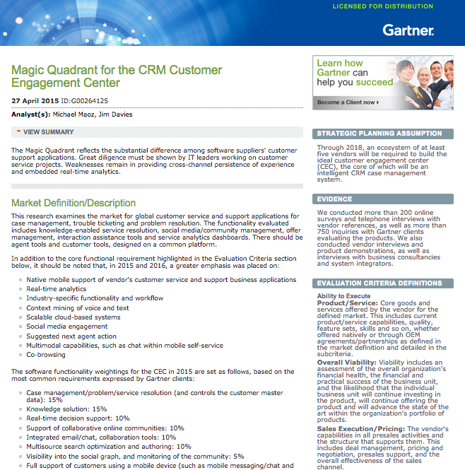 Gartner's 2015 Magic Quadrant for the CRM Customer Engagement Center