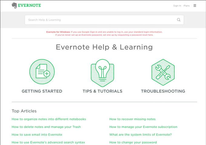 ヘルプセンター構築のベストプラクティス:Evernote
