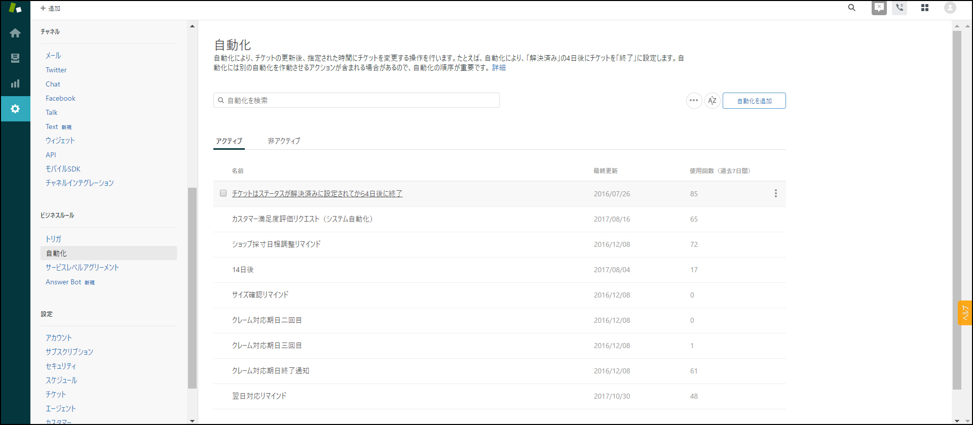 Zendesk Support 管理画面