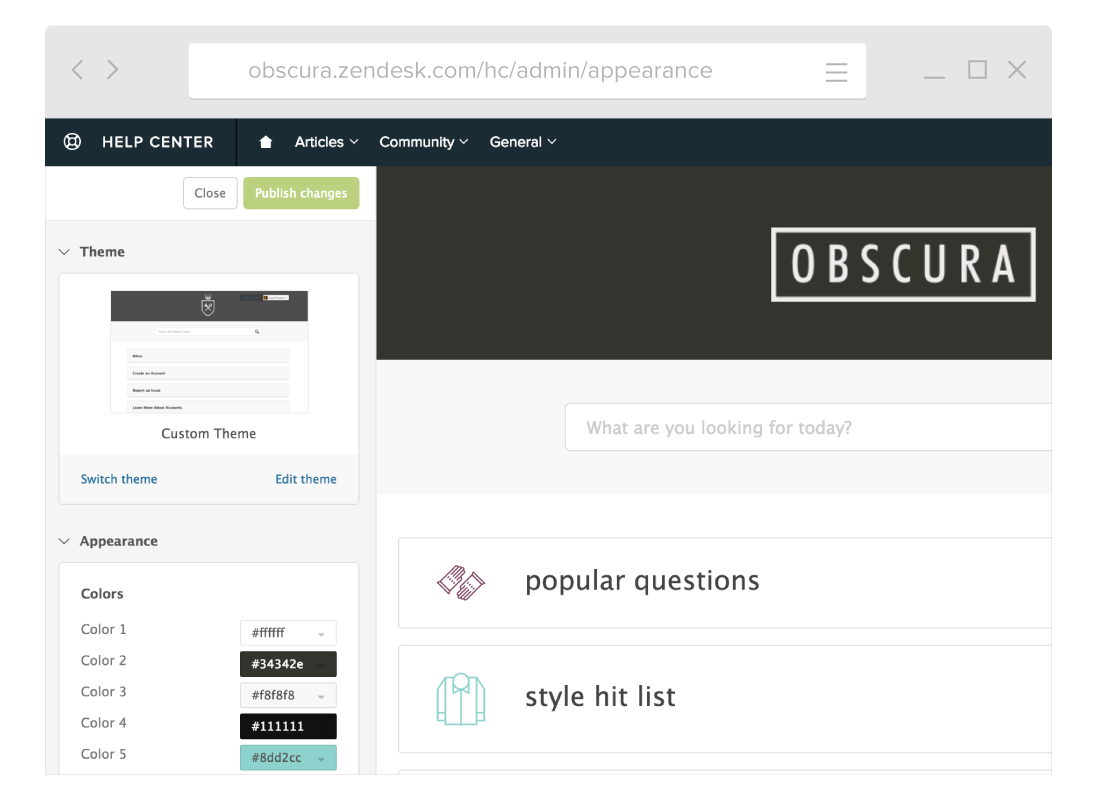 Zendesk customer portal software