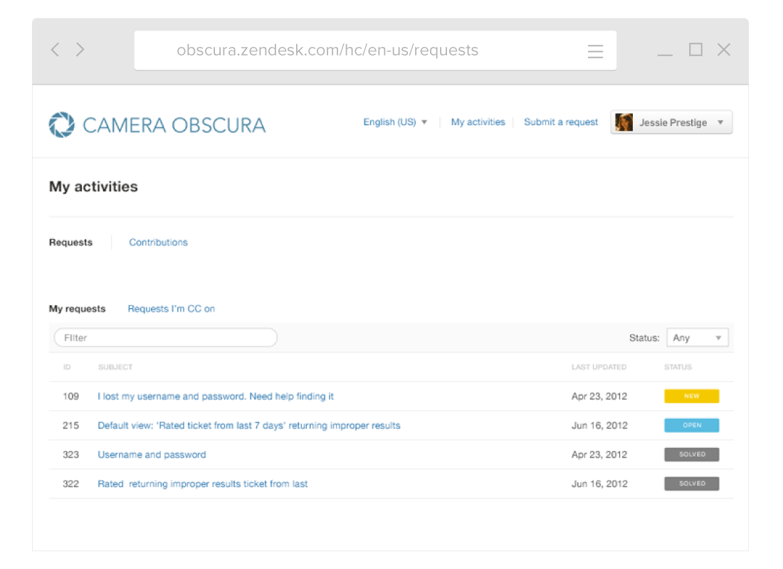Camera Obscura's community example of Zendesk Guide's corporate portal.